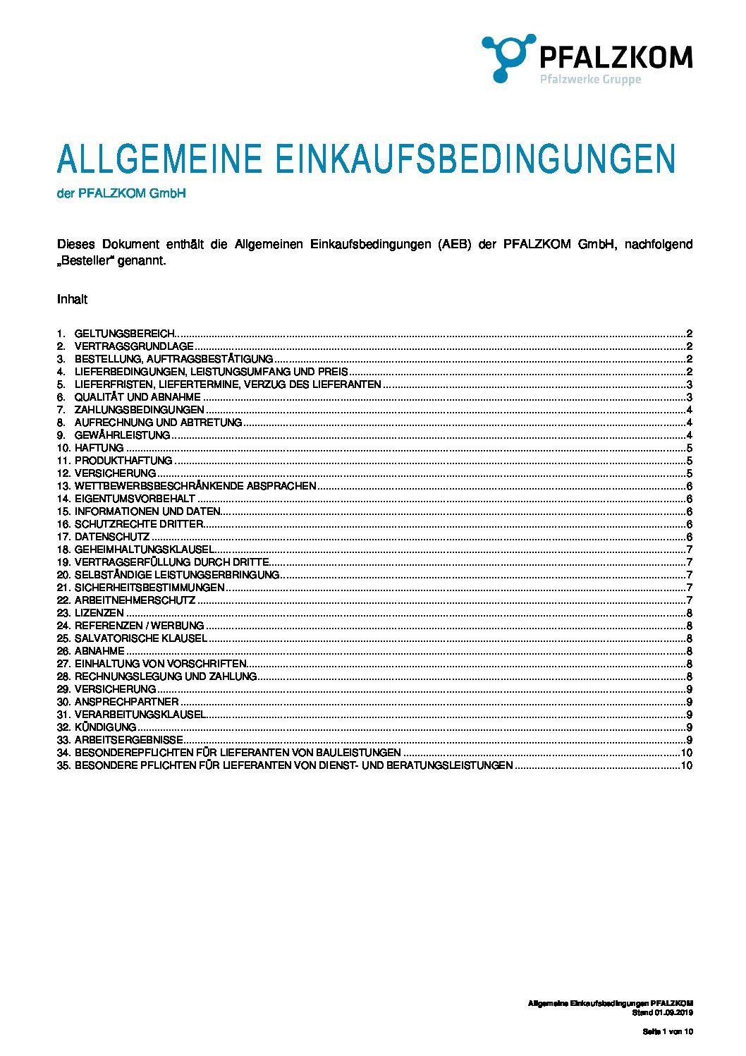 Einkaufsbedingungen PFALZKOM GmbH